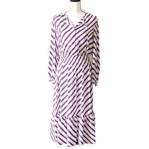 Tucker NYC The Juliette Silk Plum Stripe Dress NWT